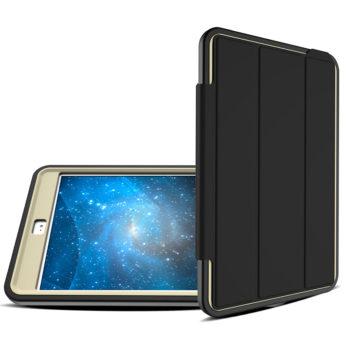 3 Layers Heavy Duty PU Protective Case Smart Cover Auto Sleep Wake Folio Stand for iPad Mini 4 – Grey