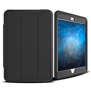 3 Layers Heavy Duty PU Protective Case Smart Cover Auto Sleep Wake Folio Stand for iPad Mini 4 – Black
