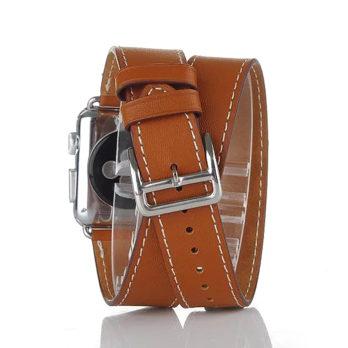 38mm Genuine Leather Cuff Bracelet Watchband Strap for Apple Watch iWatch – Brown