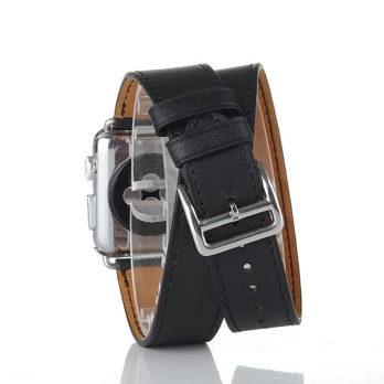 42mm Genuine Leather Cuff Bracelet Watchband Strap for Apple Watch iWatch – Black